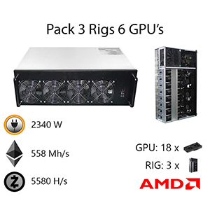 3 Rig Pack With 6 GPUs each